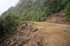 Landslide through the road in the Ecuador mountains. June 8, 2017 Baeza, Ecuador: landslide through the road in the high Andes Stock Photo