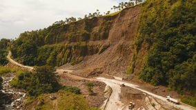 Landslide on the road in the mountains.Camiguin island Philippines. stock video