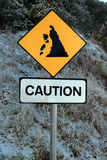 Landslide sign in snow. A landslide sign in county kerry ireland on a cold snow covered day Royalty Free Stock Photo