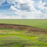 Landslide and soil erosion on fields Royalty Free Stock Image