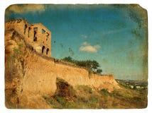 Landslide of soil, natural hazards. Old postcard. Stock Image