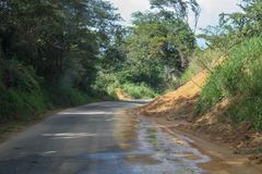 Landslide in Venezuela countryside. Small landslide on the road in countryside, state Sucre Venezuela Royalty Free Stock Photography