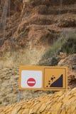 Landslide warning sign Stock Image