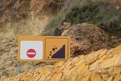 Landslide warning sign Royalty Free Stock Photo