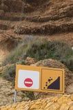 Landslide warning sign Stock Images