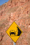 Landslide warning. Traffic sign warning of  landslide risk Royalty Free Stock Photos