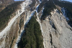 Landslides on mountain. In the Himalayans Royalty Free Stock Photo