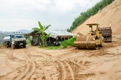 Landslides during in the rainy season,Thailand Stock Photos