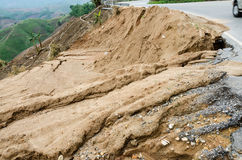 Landslides during in the rainy season,Thailand Stock Photos