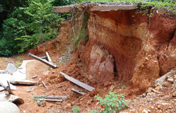 Landslides and road damage Royalty Free Stock Photo