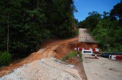Landslides and road damage Royalty Free Stock Images
