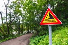Landslides road sign Stock Photo