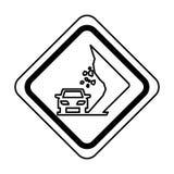 Landslides on the road traffic signal icon. Vector illustration design Stock Images