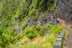 Landslides wiped out the coast road at Porto Moniz in Madeira and now a waterfall is the main feature Stock Photography