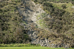 Landslip landslide in tuscany hills landscape Stock Photo
