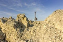 Landspår i stora partier av en bulldozer Arkivfoton