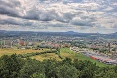 Landspace ÄŒeská Lípa - clouds & photo from hill Åpičák. Landspace from hill Špičák Landspace Česká Lípa Landspace Czech republic stock photography