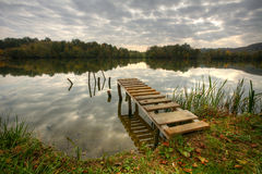 Landspace photo of still lake Royalty Free Stock Images