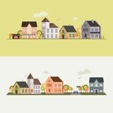Landssida, hus, fält Royaltyfri Fotografi
