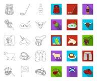 LandsSkottland översikt, plana symboler i den fastställda samlingen för design Materiel f?r sight-, kultur- och traditionsvektors vektor illustrationer