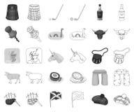 LandsSkottland monokrom, översiktssymboler i den fastställda samlingen för design Sight-, kultur- och traditionsvektorsymbol vektor illustrationer