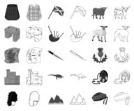 LandsSkottland monokrom, översiktssymboler i den fastställda samlingen för design Sight-, kultur- och traditionsvektorsymbol stock illustrationer