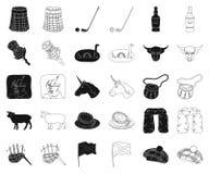 LandsSkottland svart, översiktssymboler i den fastställda samlingen för design Sight-, kultur- och traditionsvektorsymbol vektor illustrationer