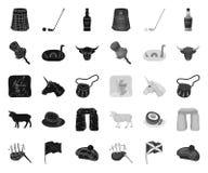 LandsSkottland svart mono symboler i den fastst?llda samlingen f?r design Materiel f?r sight-, kultur- och traditionsvektorsymbol royaltyfri illustrationer