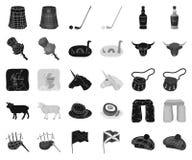 LandsSkottland svart, monokromma symboler i den fastställda samlingen för design Sight-, kultur- och traditionsvektorsymbol royaltyfri illustrationer