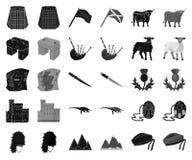 LandsSkottland svart, monokromma symboler i den fastställda samlingen för design Sight-, kultur- och traditionsvektorsymbol vektor illustrationer