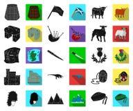 LandsSkottland svart, plana symboler i den fastställda samlingen för design Materiel för sight-, kultur- och traditionsvektorsymb vektor illustrationer
