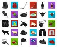 LandsSkottland svart, plana symboler i den fastställda samlingen för design Materiel för sight-, kultur- och traditionsvektorsymb royaltyfri illustrationer