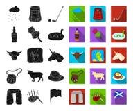 LandsSkottland svart, plana symboler i den fastställda samlingen för design Materiel för sight-, kultur- och traditionsvektorsymb stock illustrationer
