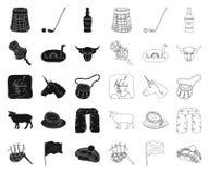 LandsSkottland svart, ?versiktssymboler i den fastst?llda samlingen f?r design Sight-, kultur- och traditionsvektorsymbol vektor illustrationer