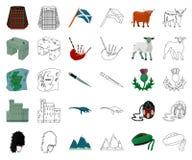 LandsSkottland tecknad film, översiktssymboler i den fastställda samlingen för design Sight-, kultur- och traditionsvektorsymbol stock illustrationer