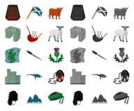 LandsSkottland tecknad film, mono symboler i den fastställda samlingen för design Materiel för sight-, kultur- och traditionsvekt stock illustrationer