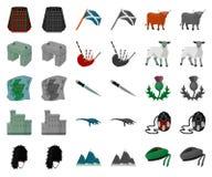 LandsSkottland tecknad film, monochromsymboler i den fastställda samlingen för design Sight-, kultur- och traditionsvektorsymbol royaltyfri illustrationer