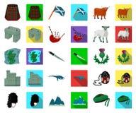 LandsSkottland tecknad film, plana symboler i den fastställda samlingen för design Materiel för sight-, kultur- och traditionsvek royaltyfri illustrationer
