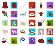 LandsSkottland tecknad film, plana symboler i den fastställda samlingen för design Materiel för sight-, kultur- och traditionsvek stock illustrationer