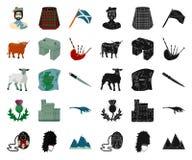 LandsSkottland tecknad film, svarta symboler i den fastställda samlingen för design Sight-, kultur- och traditionsvektorsymbol royaltyfri illustrationer