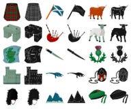 LandsSkottland tecknad film, svarta symboler i den fastställda samlingen för design Sight-, kultur- och traditionsvektorsymbol stock illustrationer