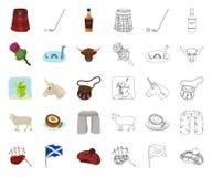 LandsSkottland tecknad film, ?versiktssymboler i den fastst?llda samlingen f?r design Sight-, kultur- och traditionsvektorsymbol royaltyfri illustrationer
