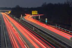 Landstraße A37 am Abend Lizenzfreies Stockfoto