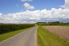 Landstraße in den Yorkshire-Wolds Stockbilder