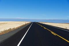 Landstraße durch das Rollen des goldenen Ackerlands Lizenzfreies Stockbild