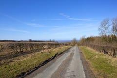 Landstraße im Winter auf den Yorkshire-Wolds Stockfotos