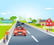 Landstraße mit Autos und Fahrrädern stock abbildung
