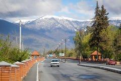 Landstraße mit Bergblicken und Weinleseauto stockbild