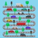 Landstraße mit Fahrzeugen Flaches Design Lizenzfreie Stockfotos
