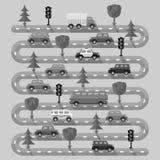 Landstraße mit Fahrzeugen Flaches Design Lizenzfreies Stockfoto